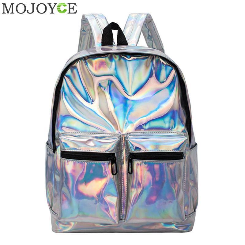 Women Laser Hologram PVC Backpacks Girls Shoulder School Backpack Female Small Leather Holographic Travel Bag Mochila Feminina