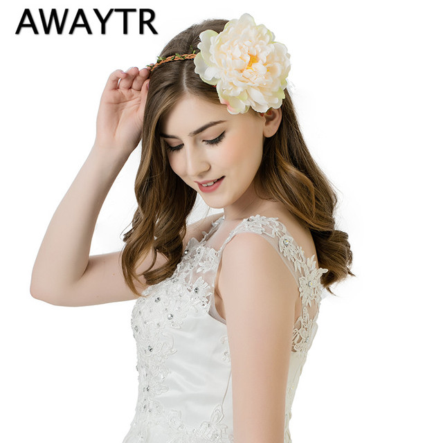 Mother Day Gift Peony Flower Wreath Crown Garland Halo for Wedding Festivals Girls Women Wreath Headpiece Boho Floral Crown