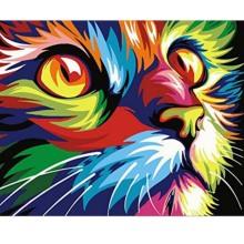 Pretty DIY Diamond Drawing Painting Colorful Cat  Mosaic Cross Stitch Drill Embroidery Decoration