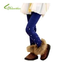 Meninas Leggings espessamento calças primavera outono inverno calças bonito colorido Material de crianças roupas de algodão