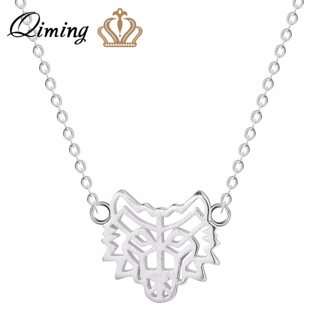QIMING 925 Sterling Silver Outline Wolf Necklace Animal Jewelry Wolf Totem  Pendant Native American Jewelry Men e5160a00aab8