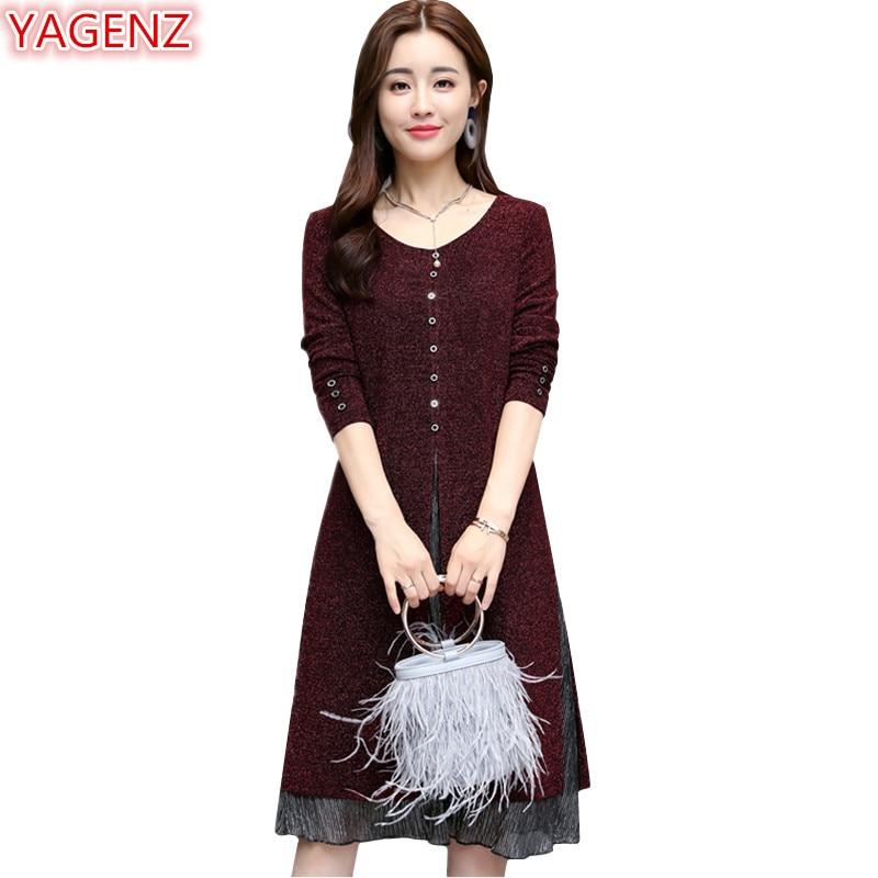 YAGENZ dames robes nouveau printemps robes femmes 2018 grande taille 4XL 5XL à manches longues robe faux deux pièces tenue décontractée o-cou 981