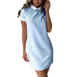 Summer Casual Women Solid Turn-down Collar Dress Short Sleeve Loose Sweet Mini Vestidos for Lady 1