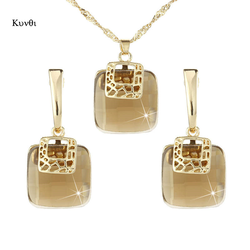 2019 New Luxurious Golden Metal Dubai Jewelry Sets Geometric Square Champagne Crystal Earrings Pendant Necklace Sets For Women