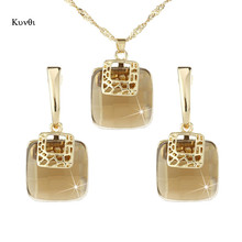 2019 New Luxurious Golden Metal Dubai Jewelry Sets Geometric Square Champagne Crystal Earrings Pendant Necklace for Women