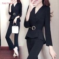 Fairy Dreams 2 Piece Set Office Ladies Black Suits The Feminine Women Autumn Pants Sets Elegant