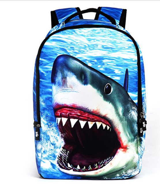 3D Shark Backpack Women Men Travel Laptop Rucksack School Bags for  Teenagers Backpacks Printing Bag Casual