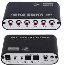 5.1 AC3 DTS HD Audio Decoder Digital Sound Decodificador SPDIF Coaxial Óptico a 6RCA con cable y adaptador óptico(China (Mainland))