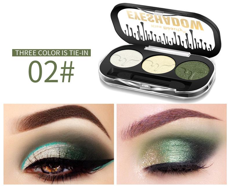 Beauty Essentials Kiss Beauty Brand Earth Color Tricolor Dumb Light Pearl Light Eyeshadow Disc Lasting Waterproof Anti Halo Dyeing