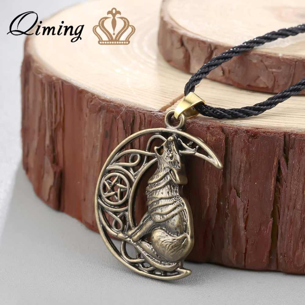 Qiming Serigala Malam Suara Celtic Kalung Pria Vintage Perhiasan Valknut Odin Simbol dari Norse Viking Prajurit Wanita Punk Kalung