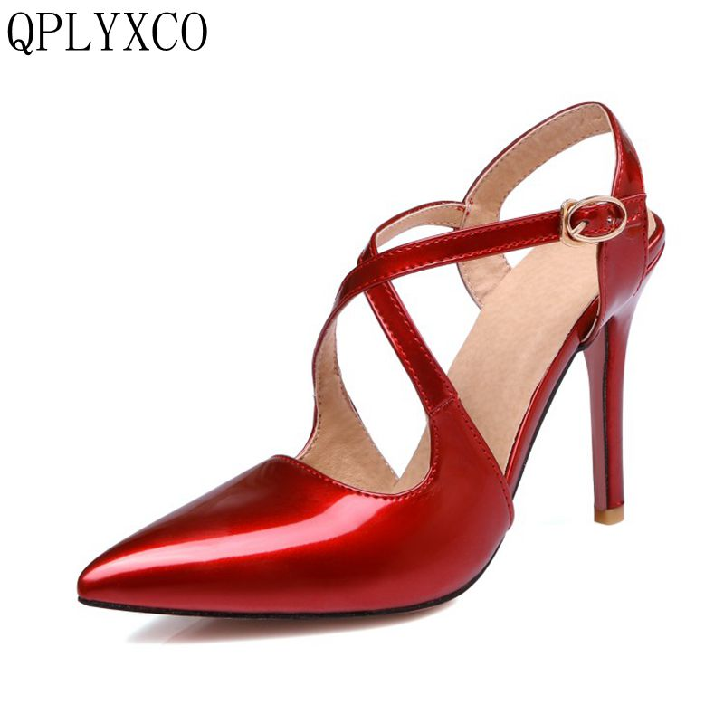 QPLYXCO 2017 Big &Small Size 30-47 Women Pointed Toe High Heel Sandals Party Wedding <font><b>Sexy</b></font> Lady Heeled Footwear Heels Shoes <font><b>10</b></font>-30 image