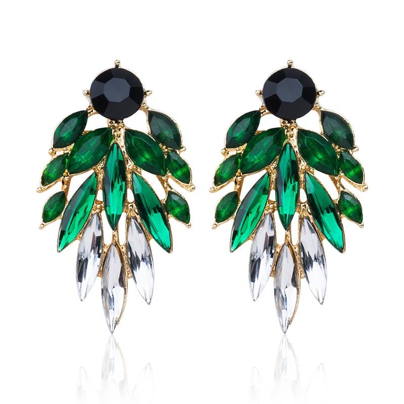 SHUANGR marque boucles d'oreilles en cristal couleur or rose vert noir boucles d'oreilles femmes bleu CZ Zircon brincos boucle d'oreille