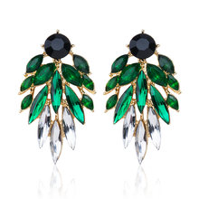 SHUANGR Brand crystal earrings Gold Color Pink Green Black Dangles Earrings women Blue CZ Zircon brincos boucle d'oreille(China)