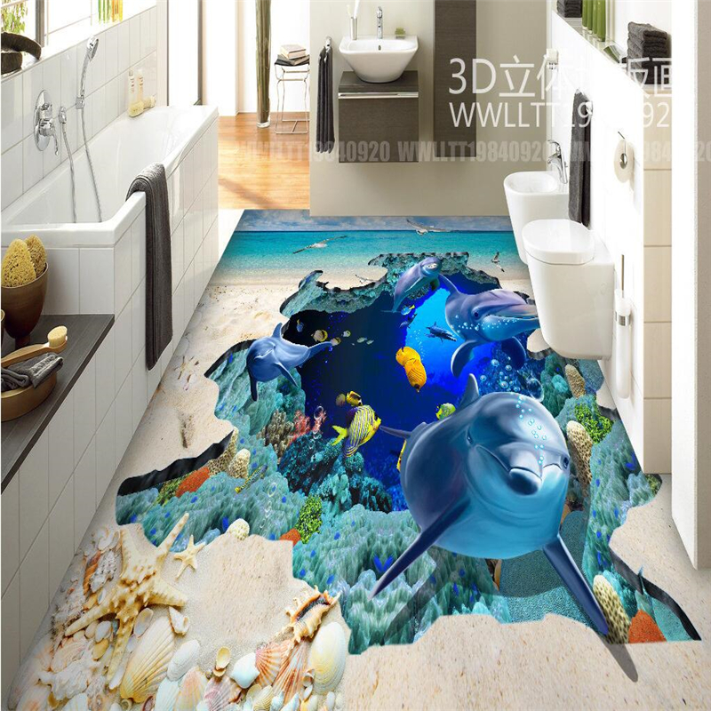 beibehang Dolphin whale Ocean Self-adhesive 3d floor wall paper wallpaper bedroom 3d flooring waterproof wall papers home decor