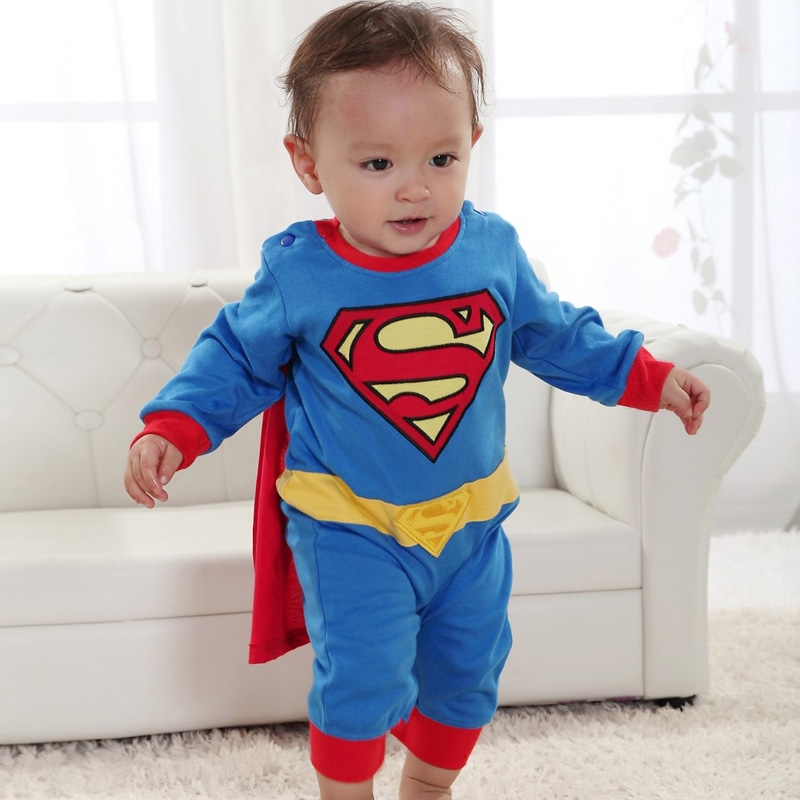 Baby Clothing Boy Jumpsuit Kids Cute Superman Costume Long