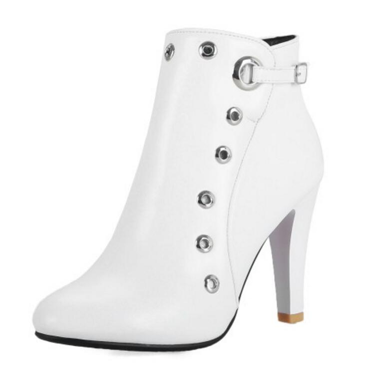 Botines Primavera Tacones Mujeres white Gladiador Punk Zapatos Botas Grueso Otoño Mujer Xz181621 Black red Femenino Sapato Chaussure Tobillo Altos De qw5FIZU8x