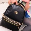 2016 diseñador de moda de la corona de la cremallera del remache de LA PU de cuero mochilas femeninos sólido a prueba de agua negro niñas adolescentes mochilas escolares