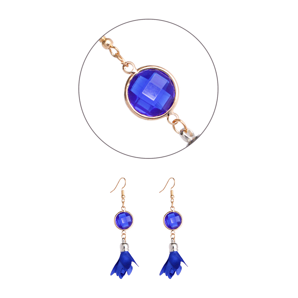 TKOH 1 pair Cute Cloth Flowers Long Tassels Earrings For Women Earrings Beach Piercing Earring