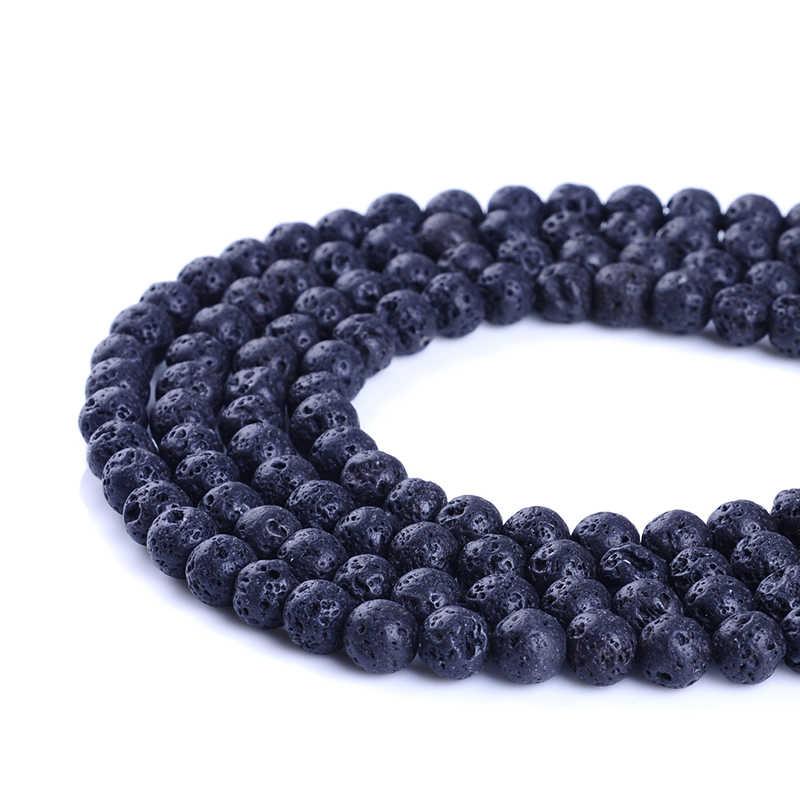 Natürliche Schwarzen Vulkanischen Lava Stein Runde Form Naturstein Perlen Großhandel DIY Schmuck Armband Machen 4 6 8 10 12 14mm