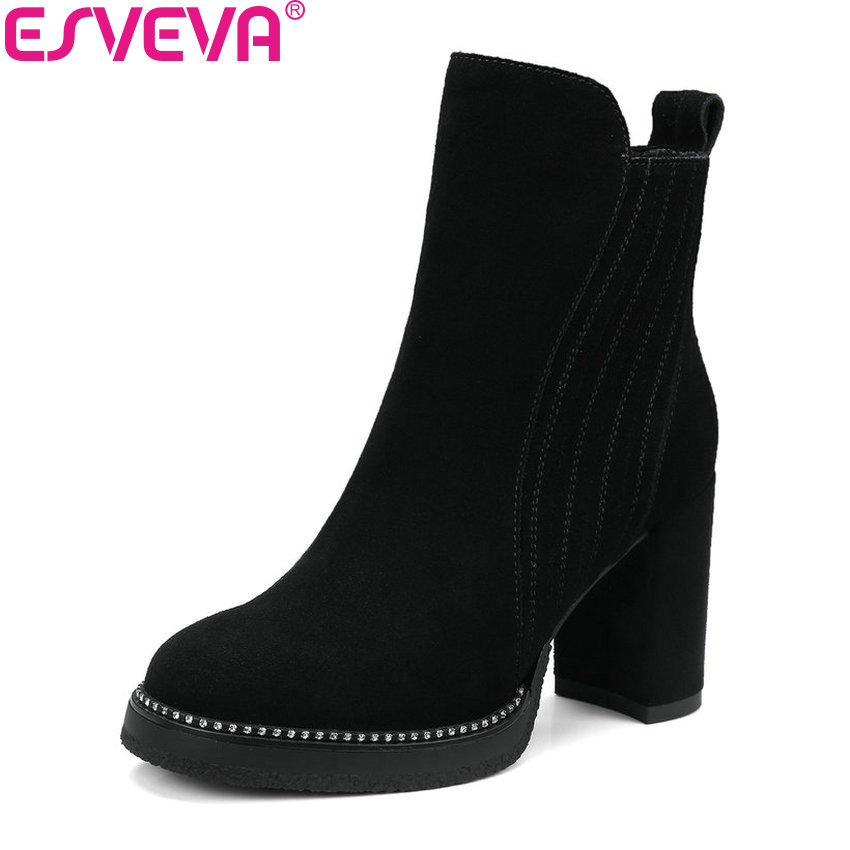 ESVEVA 2018 Synthetic/PU Women Boots Square High Heels Ankle Boots Round Toe Spring Autumn Zippers Boots Women Shoes Size 34-39 esveva 2018 women boots sweet style zippers square high heels pointed toe ankle boots chunky short plush ladies shoes size 34 39