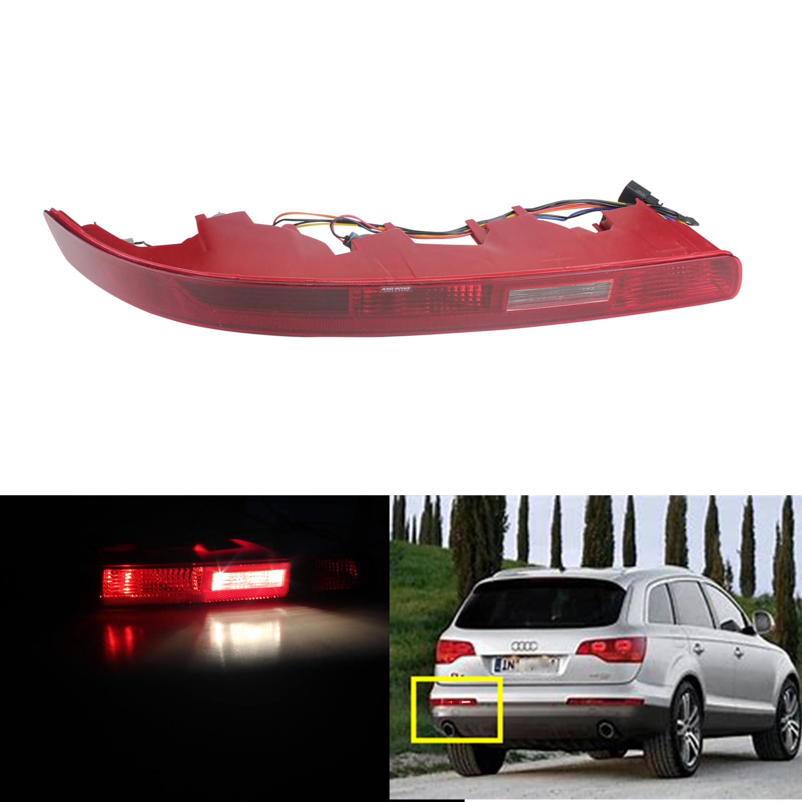 ANGRONG For Audi Q7 4L 2006 15 Rear Bumper Reflector Reverse Brake Stop Light Lamp Left
