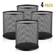 4Pcs New LTP hot black steel grid pattern pen pencil ruler holder desk organizer storage office Accessories