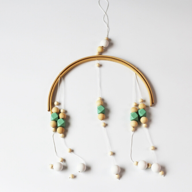 Nordic Home Wooden Beads Wind Bell Bed Children Room Hanging Decorations Tent Decoration Photography Props Wind Chimes Gifts