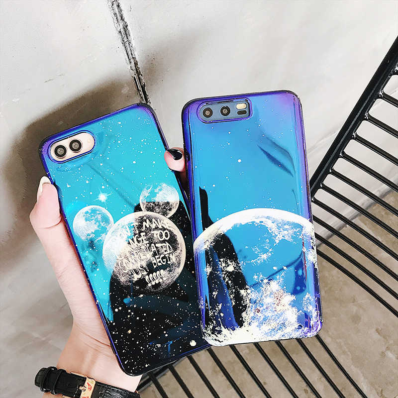 Phone Cases for Huawei P20 P30 Mate 10 20 Pro Lite 20X Blue light Moon planet soft cover for Honor 9 10 Nova 3 3i 4 back fundas