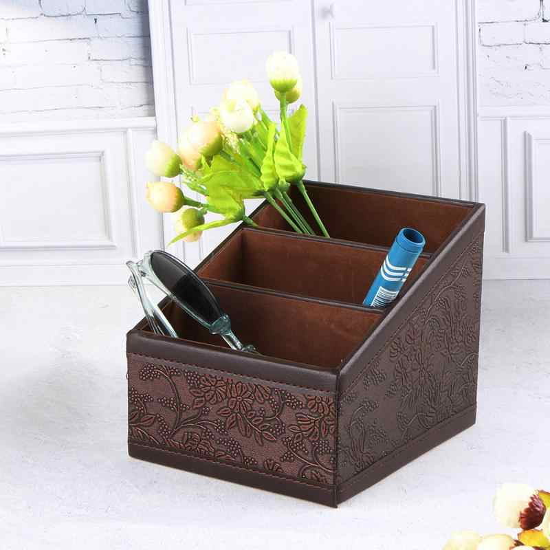 New Home Office Storage Case Retro PU Leather Storage Box Remote Control Phone Holder Cosmetic Organizer
