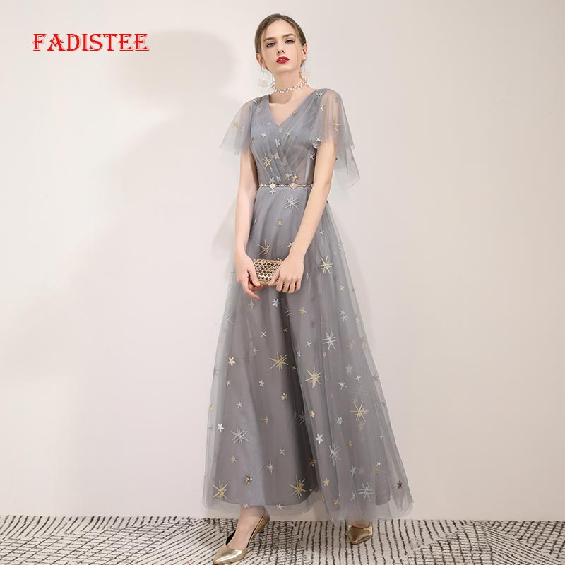 FADISTEE Summer Party Dress Prom Dresses Long Dress Vestido De Festa A-line Elegant V-neck Little Star Evening Formal Gown