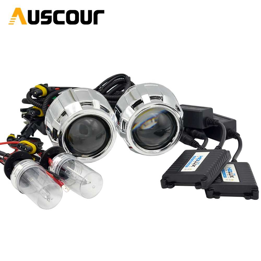 2pcs 2.5 inch hid bixenon Projector lens shroud 35W 5000K xenon ballast bulb car assembly kit fit for h1 h4 h7 car model Mofify