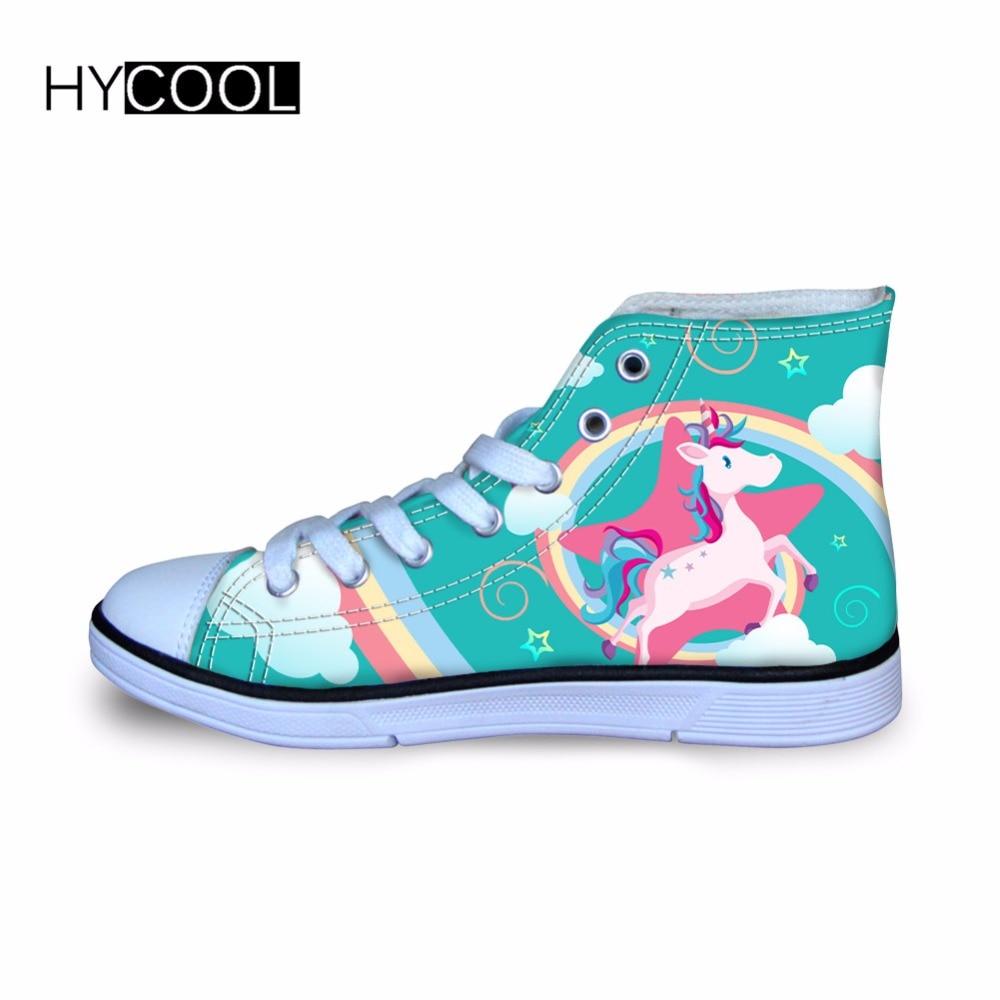 1b896df0 Hycool спортивная обувь для детей; кроссовки для девочек; уличная  парусиновая обувь с рисунком единорога