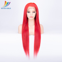 hot deal buy red straight full lace human hair wigs pre plucked 130% 150% 180% density full lace wig virgin hair for black women malaysian