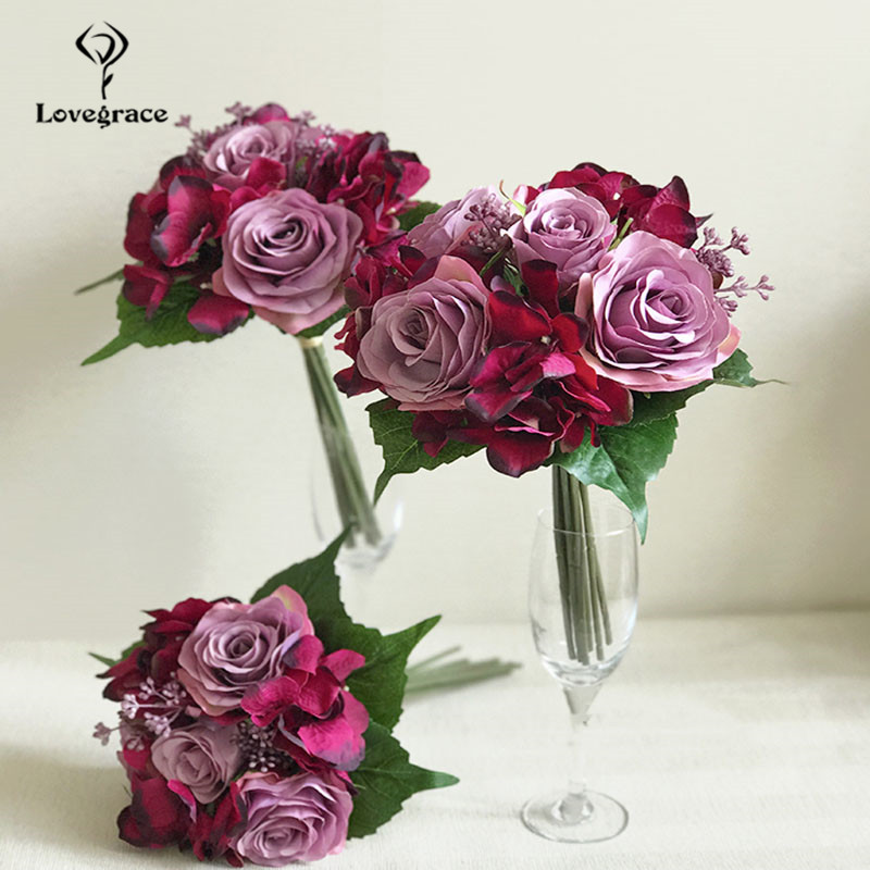 Lovegrace Wedding Bouquet Roses Hydrangea Bridesmaids Bridal Bouquet Burgundy Flowers Artificial Marriage Home Decoration Flower