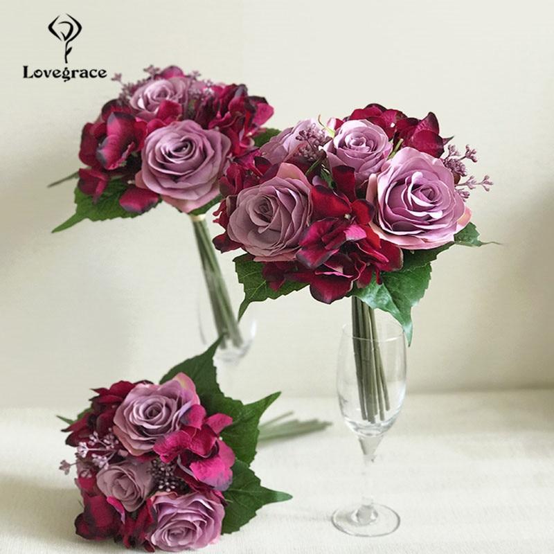 Lovegrace Wedding Bouquet Roses Hydrangea Bridesmaids Bridal Bouquet Burgundy Flowers Artificial Marriage Home Decoration Flower