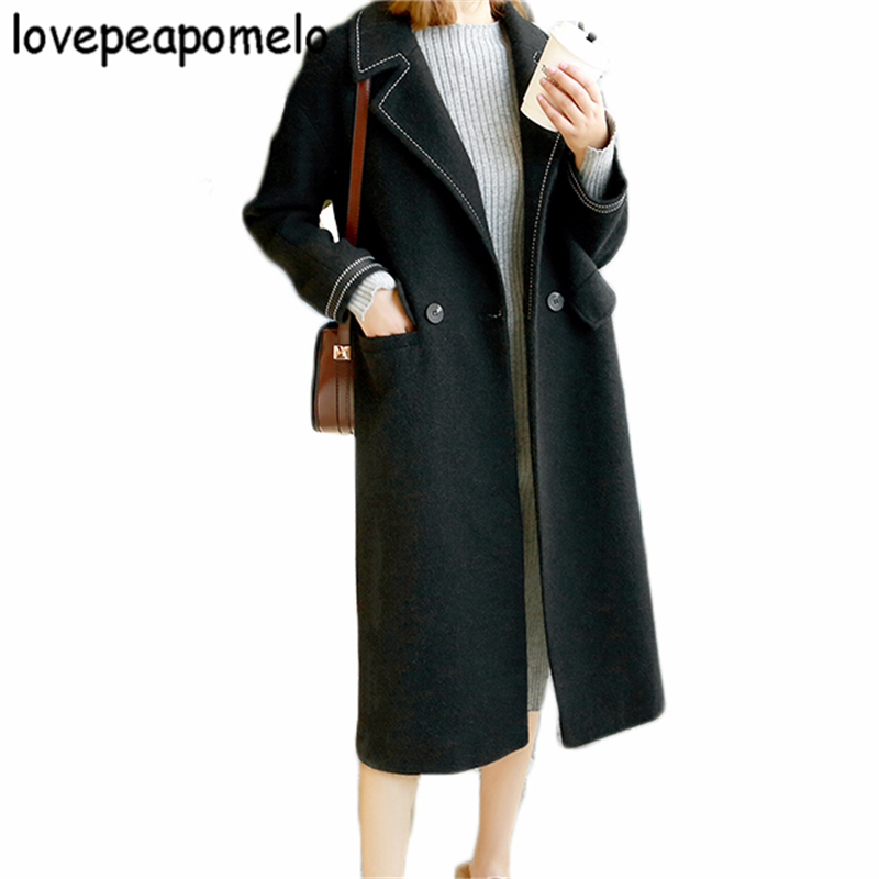 Big Size Woolen Coat Women Long Section Fashion Loose Version New Patchwork Winter Large Size Female Woolen Overcoat J504