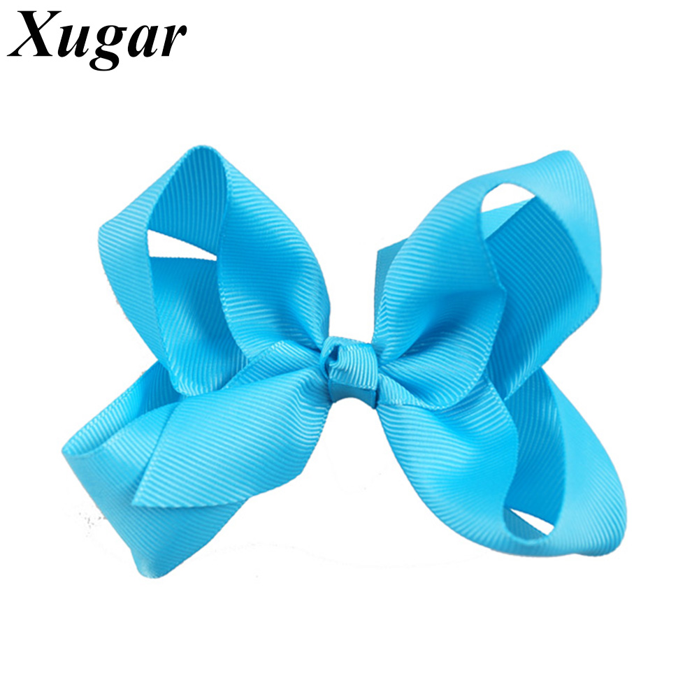 3 Pcs/Lot 4'' Girls Solid Ribbon Hair Bows Boutique Hair Bow With Alligator Clips Handmade Girl Hair Accessories 2 pcs lot 4 high quality pearl hair bow for girls sweet cute hair clips rhinestone ribbon diy fashion headwear