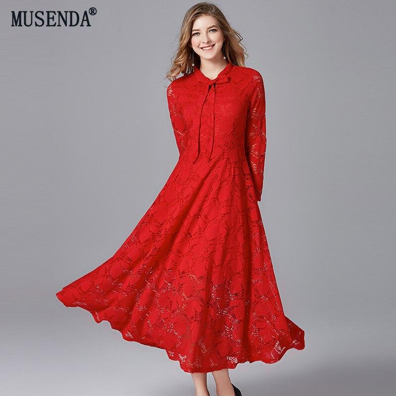 MUSENDA grande taille femmes élégant rouge dentelle arc tunique longue robe 2018 automne dames Vintage robes de fête vêtements Vestido de Festa