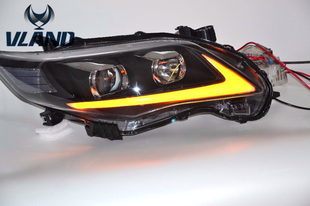 Free shipping Vland factory for corolla headlight 2011 2012 2013 LED Daytime Running Lights Turn Signal Light plug and play  free shipping vland factory for mitsubishis 2013 2014 2015 pajero sport drl led daytime running light with turn lights