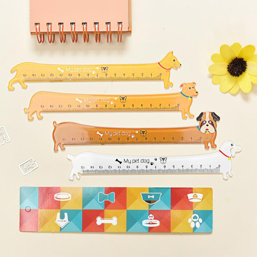 1pc Kawaii Long Dog Design 15cm Plastic Straight Ruler Cute Students' DIY Tools Prize Good Quality Global Wholesale