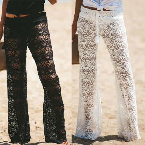 Womens Palazzo Lace Cave Flower   Wide     Leg   Trousers Ladies Plain Flared Legging   Pant   Plus Size