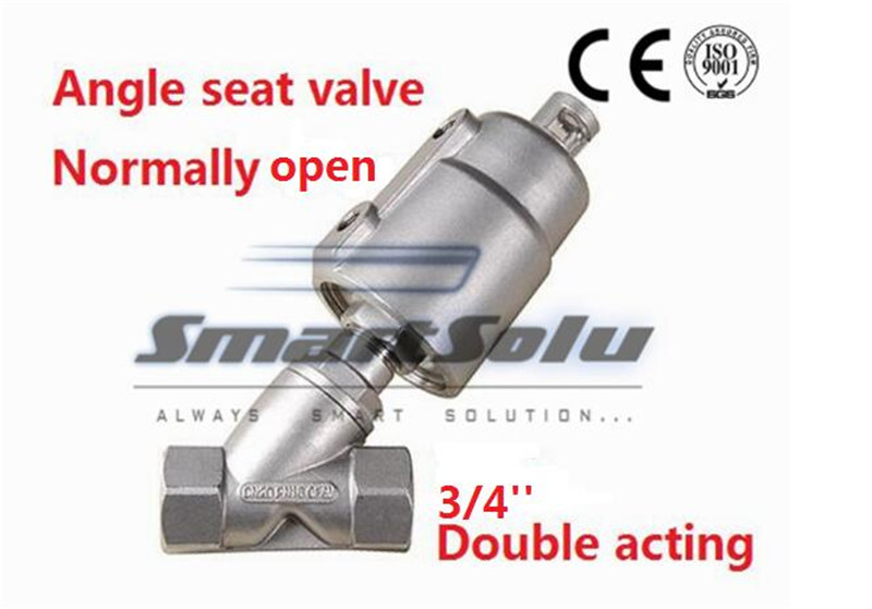 Free shipping angle valve seat actuator double steam stainless steel DN20 3/4 inch normally open for air free shipping normally closed 3 4 pneumatic angle seat valve dn20 2 way stainless steel valve for air water steam