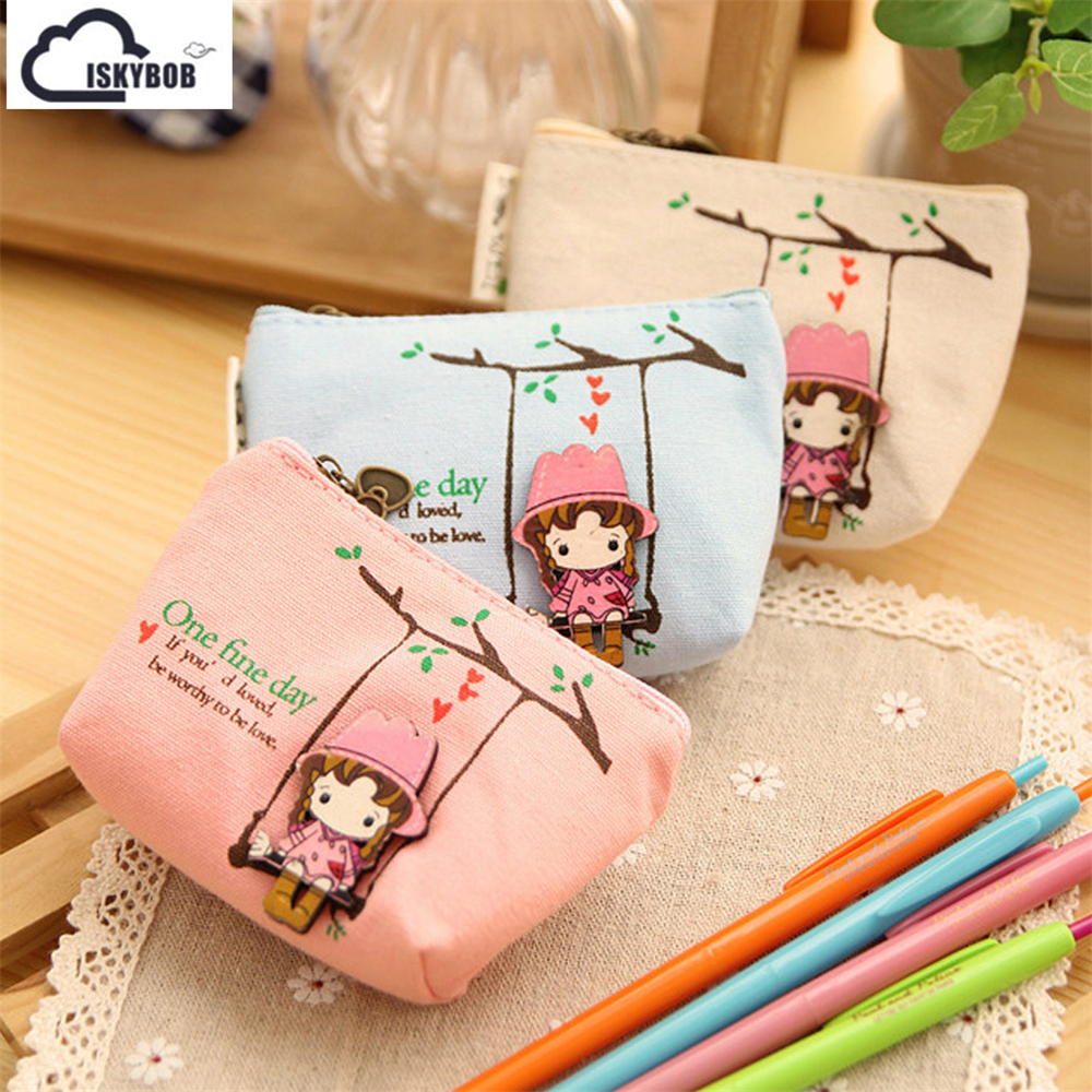Cute Canvas Coin Bag Lovely Girls The Swing Holder Purse Small Zipper Wallet Card Purse Zip Key Case Money Clip vintage lovely womens tower coin purse bag square zipper cute girls coin purse canvas money wallet pouch mini bag