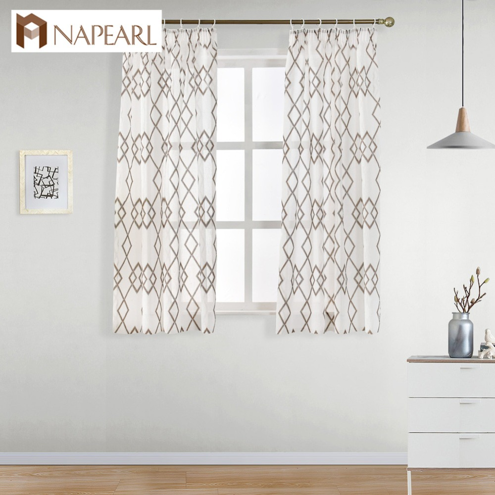 NAPEARL Ready Made Short Window Curtains For Bedroom Geometric Single Panel Drapery Window Cheap Kitchen Curtains Elegant Window