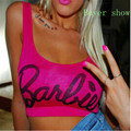 Beyonce estilo mujeres clothing blusa playa crop top letra de la impresión Barbie Short Mini Gimnasio Tank Tops mujeres sexo inconformista top F10957