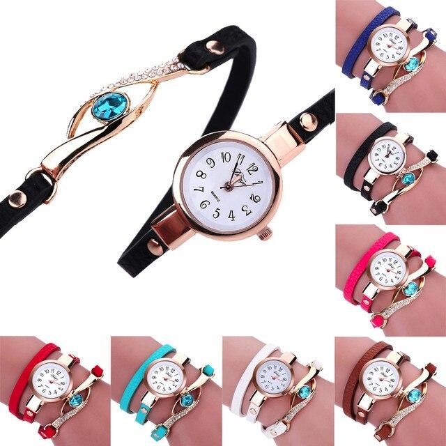 2017 New Arrivals ladies fancy wound watches grace and elegance Fashion Women Diamond Wrap Around Leatheroid Quartz Wrist Watch