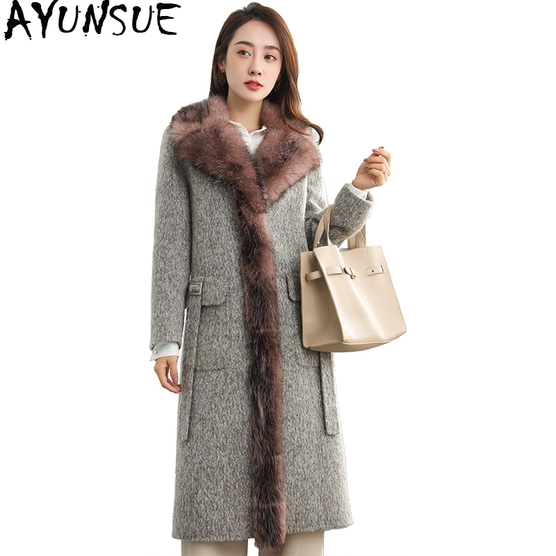 AYUNSUE 2019 Wool Coat Female Long Double sided Yak Cashmere Coats Natural Fur Collar Trim Autumn Winter Jacket Women WYQ2006