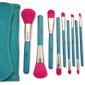9PCS/set Makeup Brush High-Quality Soft Synthetic Hair Blue Wood Handle Classic Cosmetic Brush Set with Bag Beauty Tool Kit