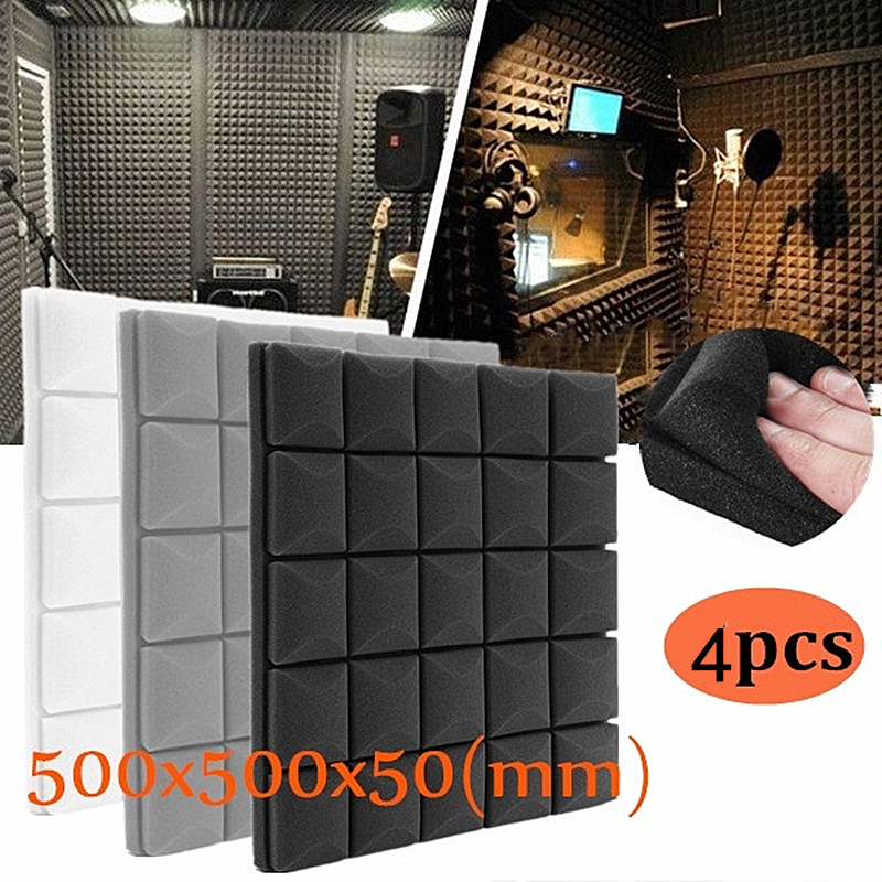 4x-500x500x50mm Schalldichte Schaum Panels Akustische Sound Stoppen Absorption Schwamm Trommel Zimmer Zubehör Keil Fliesen Polyurethan Schaum