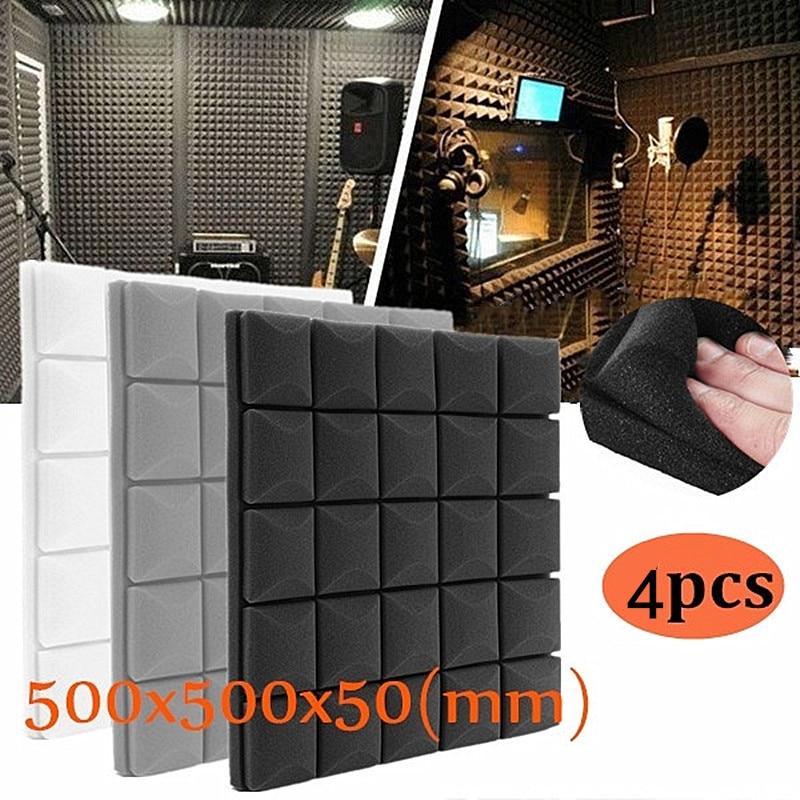 4x-500x500x50mm Soundproof Foam Panels Acoustic Sound Stop Absorption Sponge Drum Room Accessories Wedge Tiles Polyurethane Foam